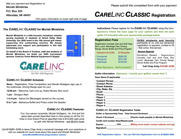 CareLinc Classic 2020 Registration - Page 2 September 14